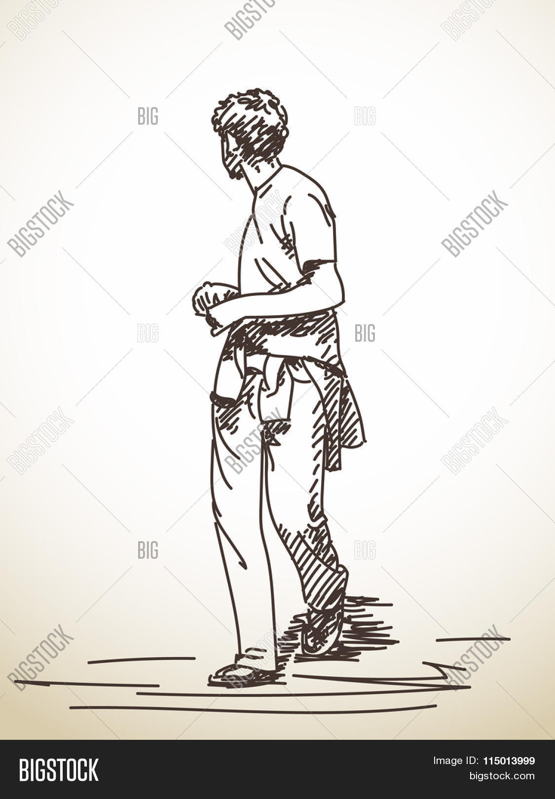 1125x1620 Sketch Walking Man Turned Look Vector Amp Photo Bigstock