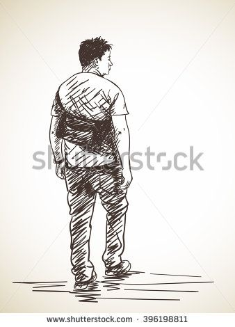 338x470 Sketch Of Walking Man, From Back, Hand Drawn Illustration