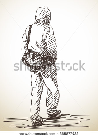 338x470 Sketch Of Walking Man, Hand Drawn Illustration