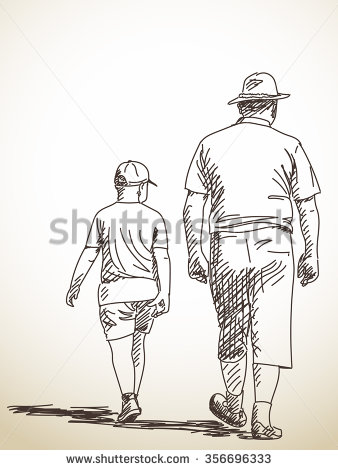 338x470 Sketch Of Walking Man And Boy, Hand Drawn Illustration