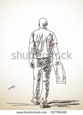 338x470 Sketch Of Walking Man From Back, Hand Drawn Illustration