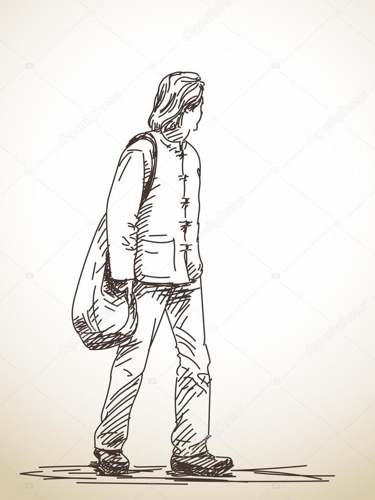 768x1024 Sketch Of Walking Man Stock Vector Olgatropinina