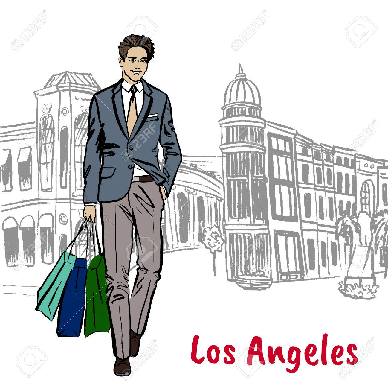1298x1300 Walking Man With Shopping Bags In Los Angeles. Hand Drawn