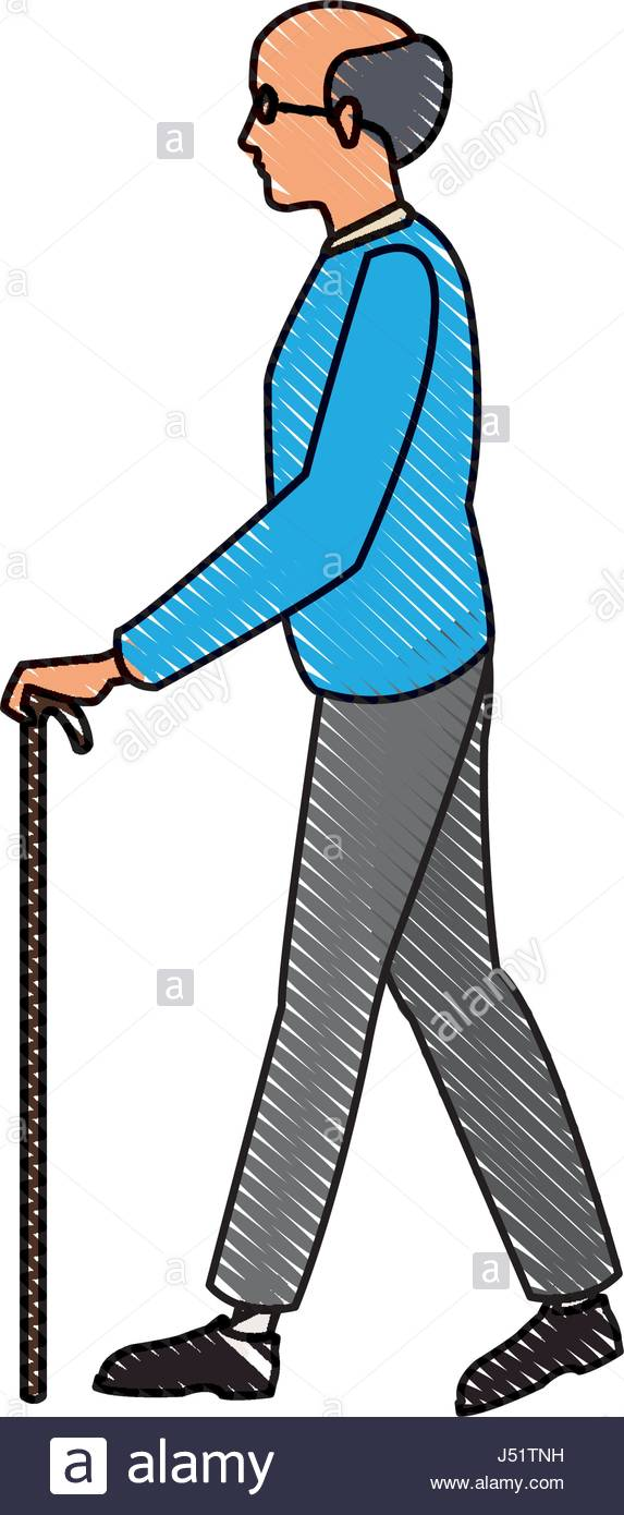 573x1390 Drawing Elderly Man Walking Stick Cane Stock Vector Art