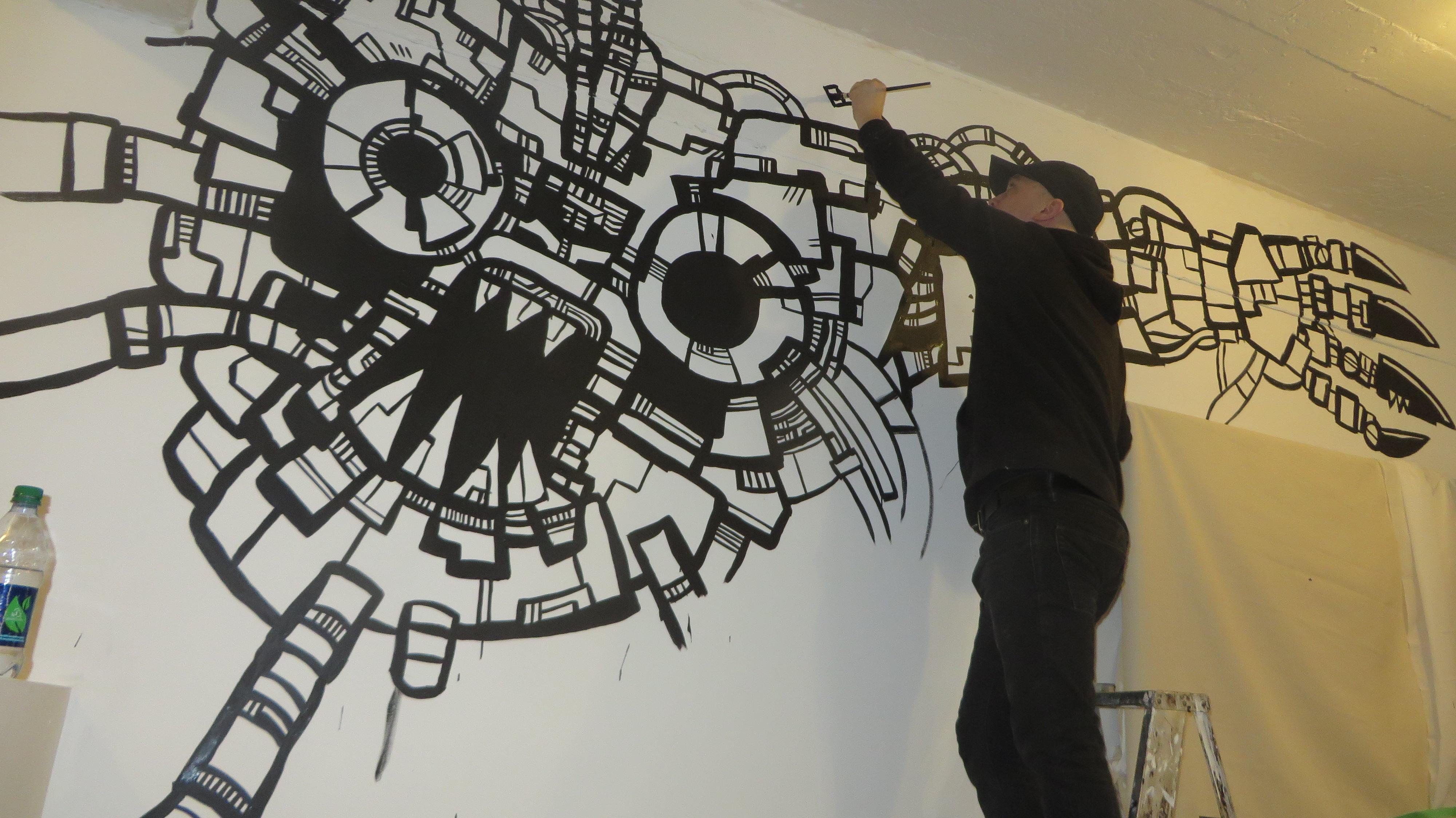 4000x2248 Robot Mural Drawing Heyapathy Surreal Comics
