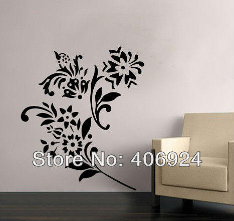 467x440 Removable Vinyl Wall Stickers Flower Wall Art Stickers Drawing