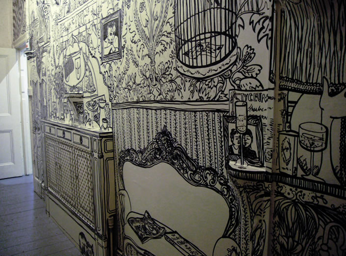 705x522 Wall Drawings Done With Black Marker Scene360