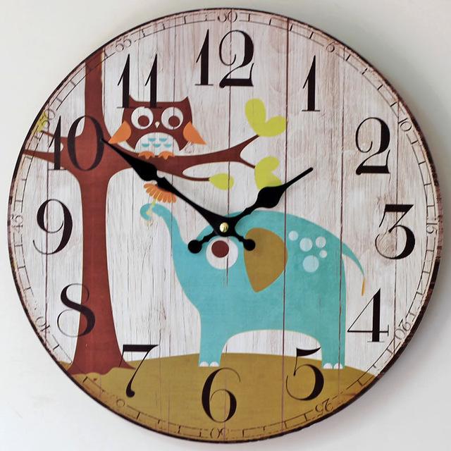 640x640 Large Size Wall Clocks Nostalgic British Style Colored Drawing