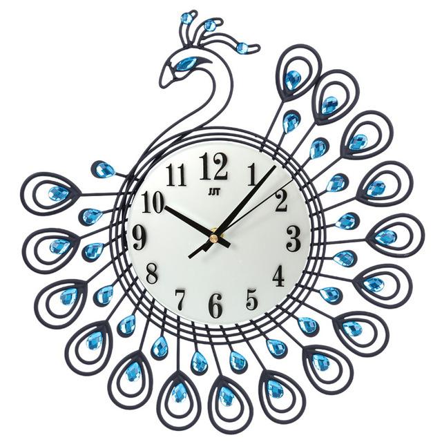 640x640 Luxury Diamond Peacock Wall Clock Metal Fashion Silent Wall Watch