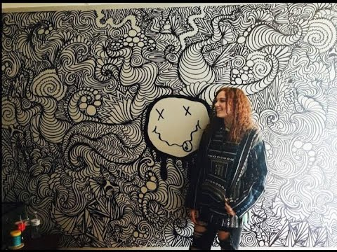 480x360 Huge Trippy Wall Drawing (Timelapse)