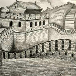 250x250 Great Wall Of China Drawing, Pencil, Sketch, Colorful, Realistic