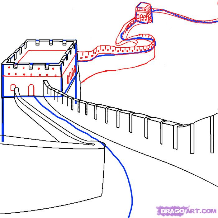 700x700 How To Draw The Great Wall Of China Step 3 Summer 2016
