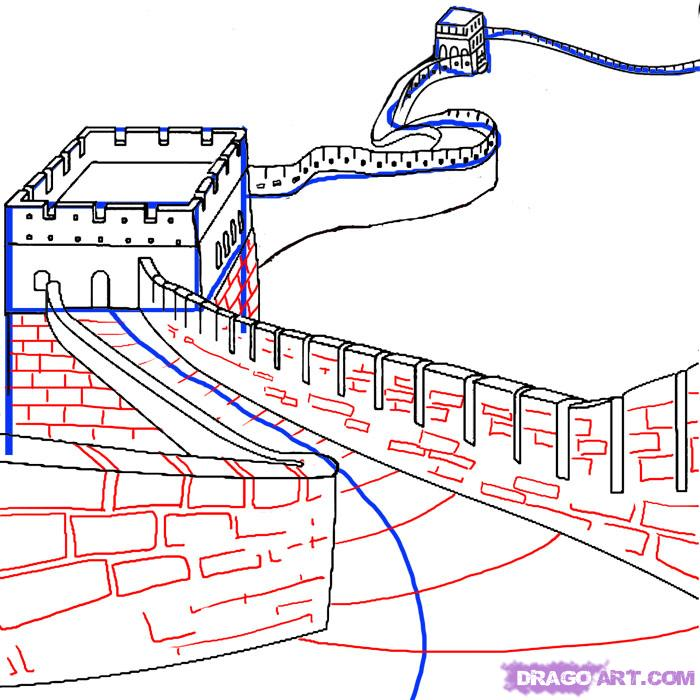 700x700 How To Draw The Great Wall Of China Step 4 Art Tutorial