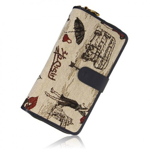 500x500 Retro Women S Wallet With Zipper And Drawing Design Red Blue