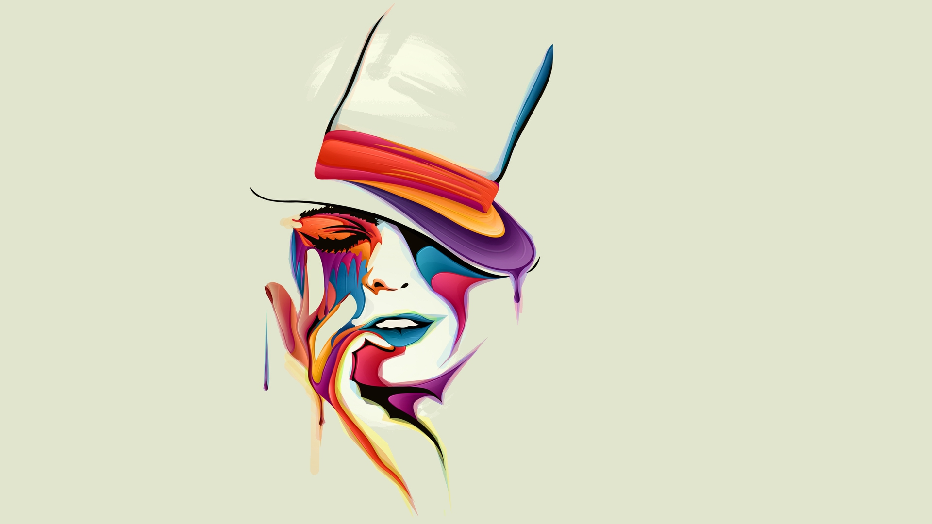 1920x1080 Download Wallpaper Face Drawing Vector Paints Color