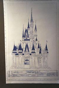 200x300 3 Large Walt Disney Castle Blueprint Drawing Tokyo Disney Walt