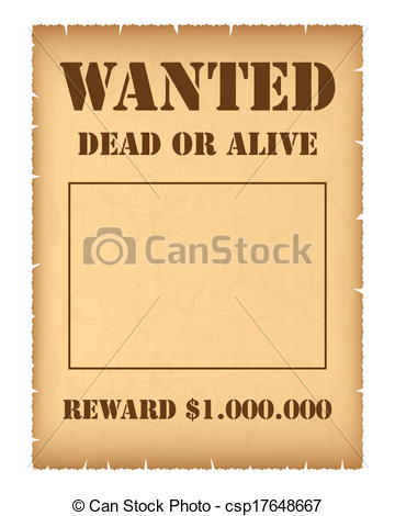 360x470 Wanted Poster Isolated On White Background Clip Art Vector