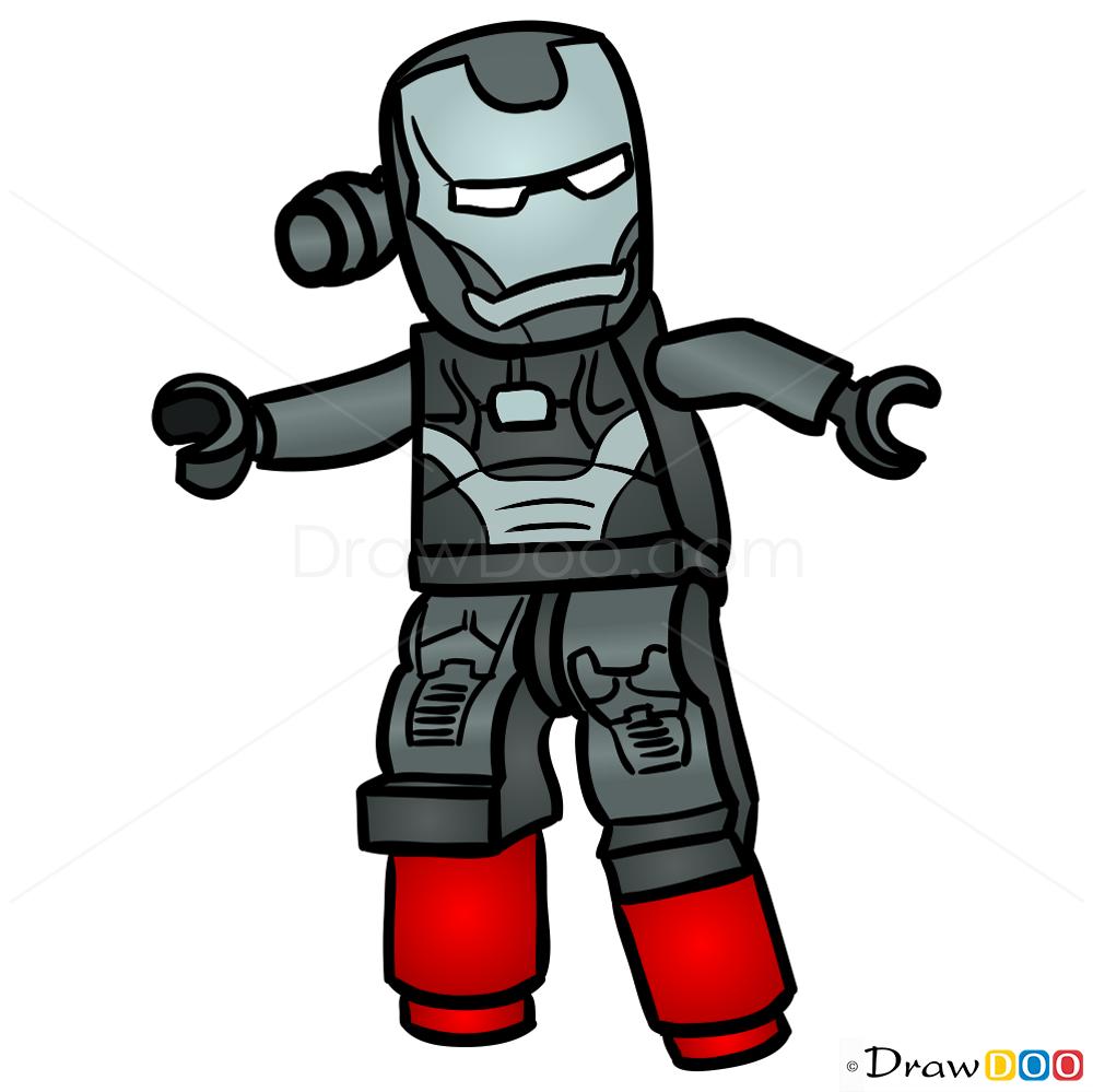 1000x999 How To Draw War Machine, Lego Super Heroes