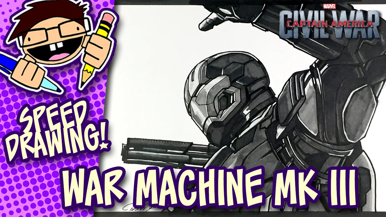 1280x720 Speed Drawing War Machine Mark Iii (Captain America Civil War