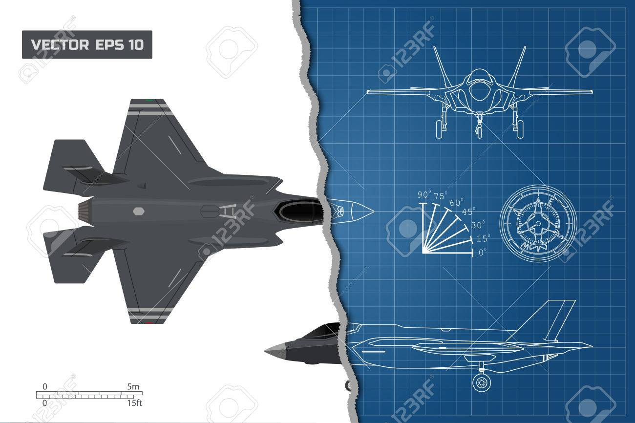 1300x866 Drawing Of Military Aircraft. Industrial Blueprint. Top, Side