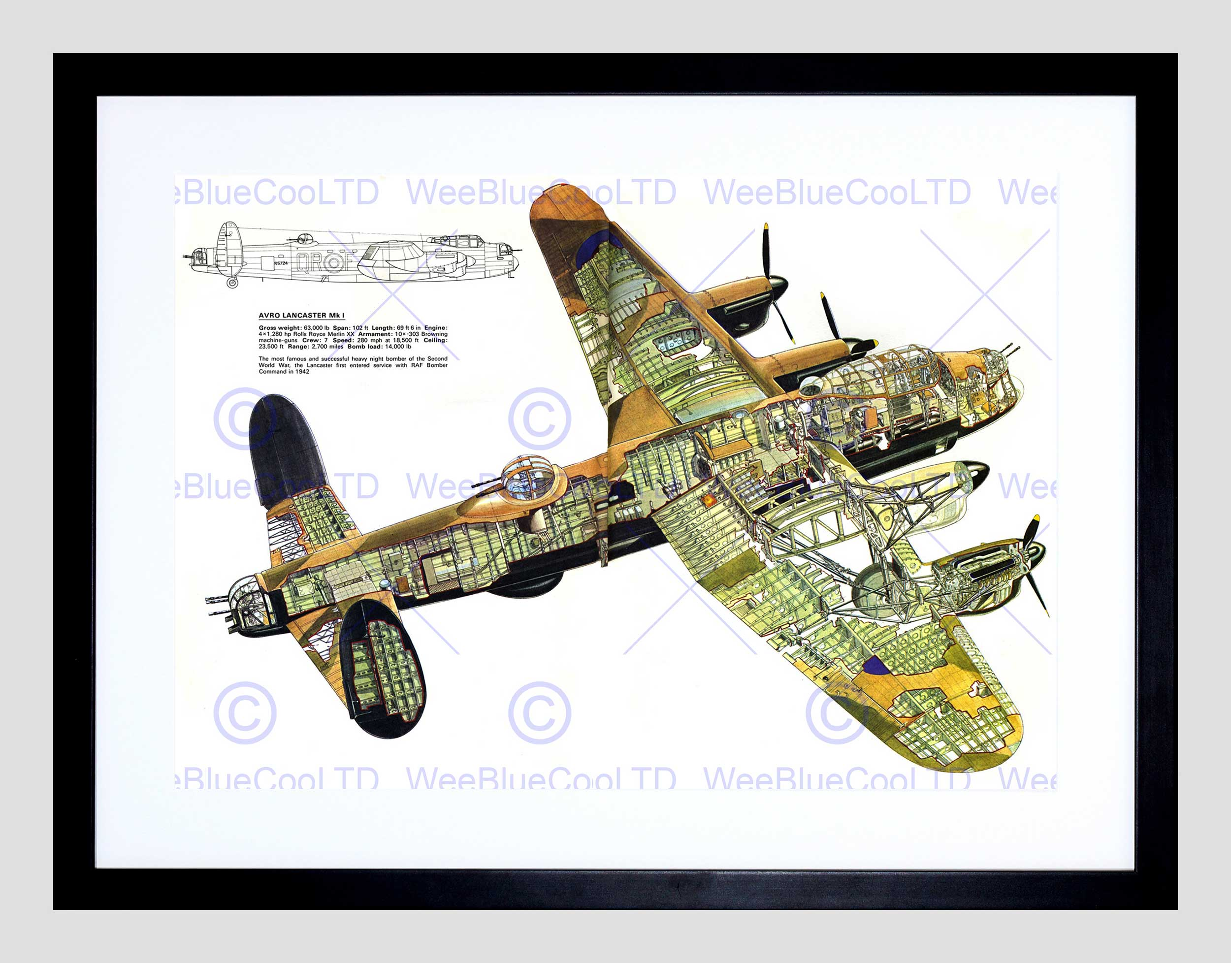 2500x1956 War Drawing Plane Bomber Avro Lancaster Cutaway Wwii Uk Framed