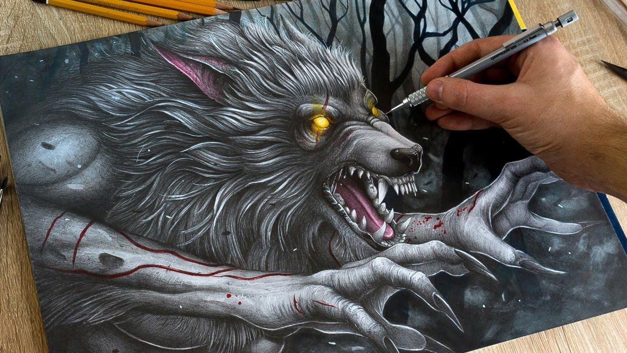 1280x720 Drawing Werewolf