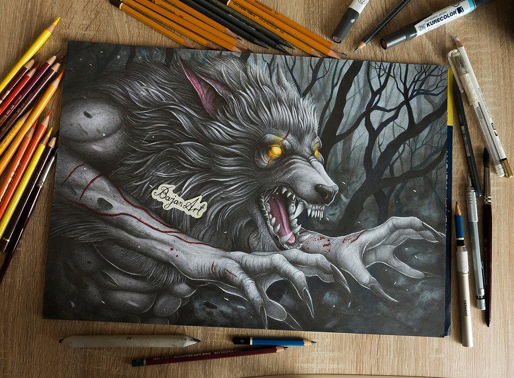 1024x753 Werewolf Drawing By Bajan On @