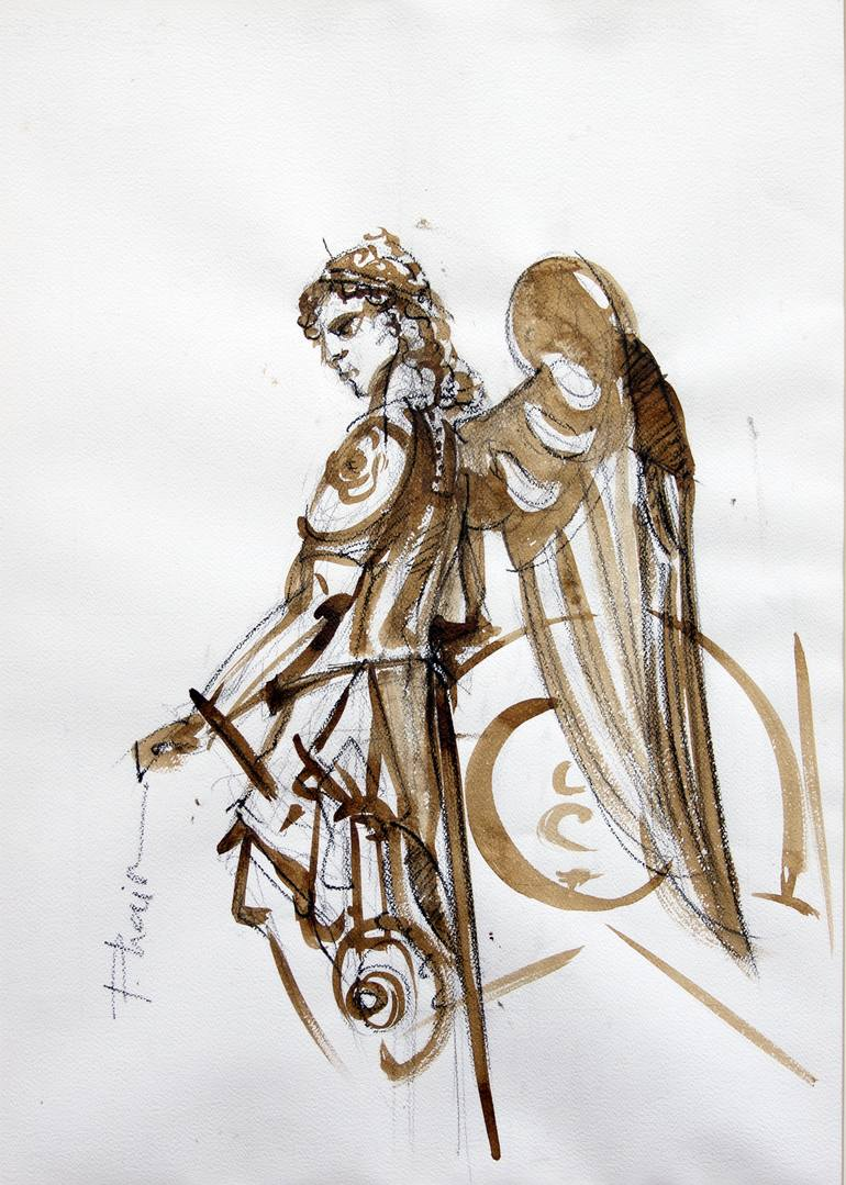 770x1079 Saatchi Art Warrior Angel Drawing By Paula Craioveanu