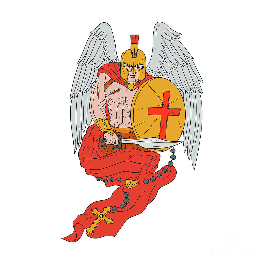 900x900 Spartan Warrior Angel Sword Rosary Drawing Digital Art By Aloysius
