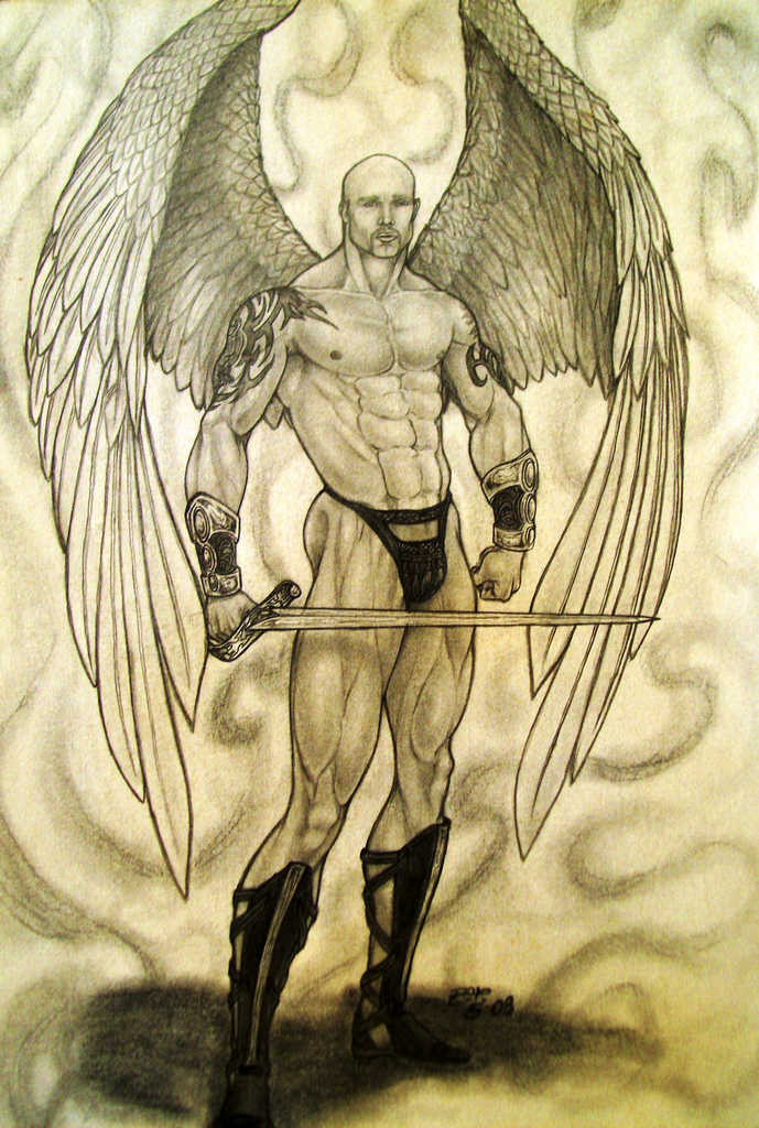 689x1024 Winged Warrior Pencil Drawing Rafael Carcamo V