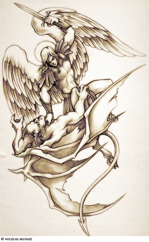 504x820 God Fighting Devil Tattoo The Most Popular Archangel Tattoo Is