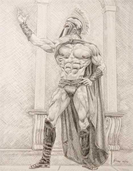 468x600 9 X 12 Drawing Print Nude Male Standing Warrior Gay Art Ebay