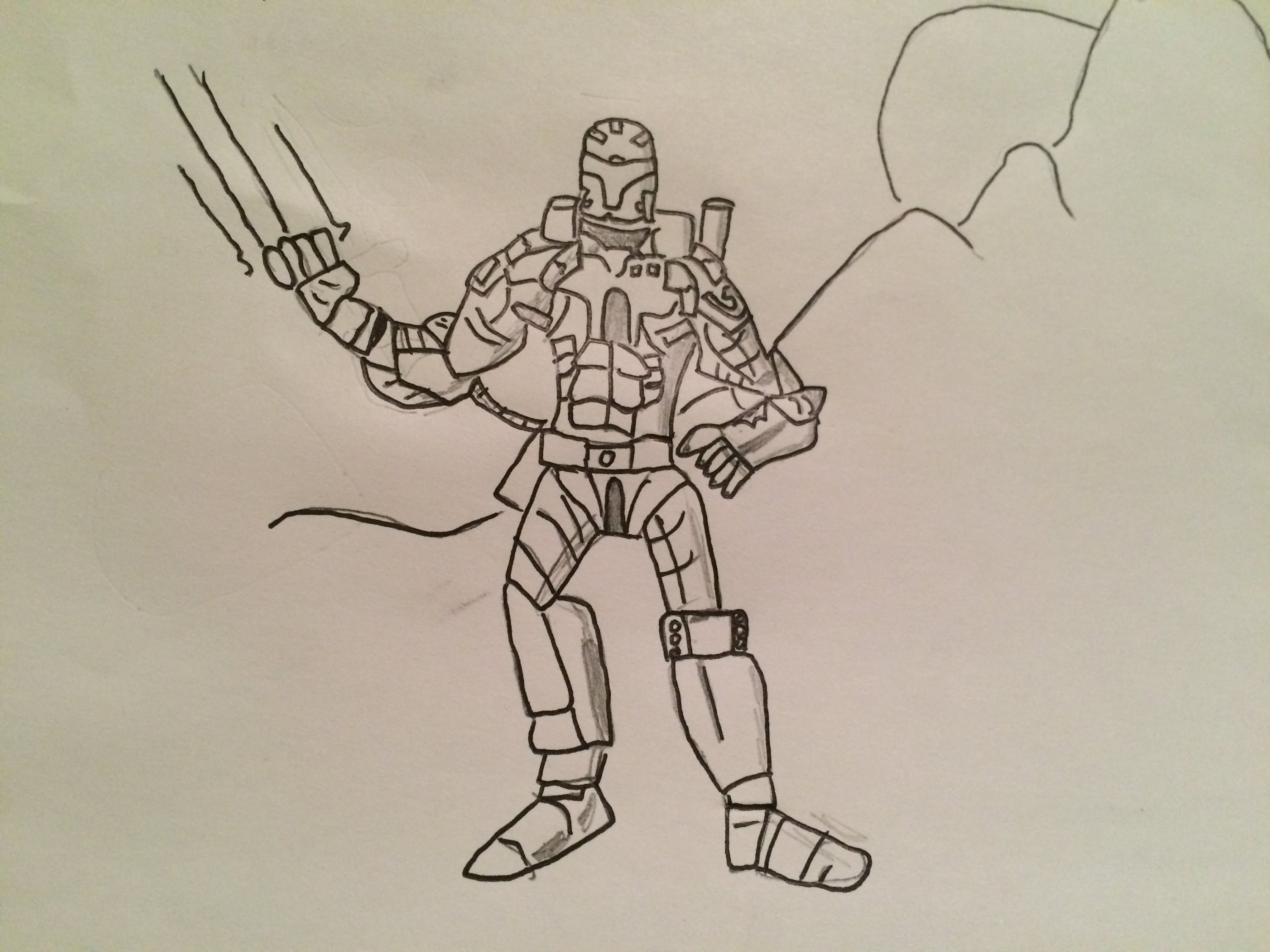 3000x2250 How To Draw A Warrior Robot