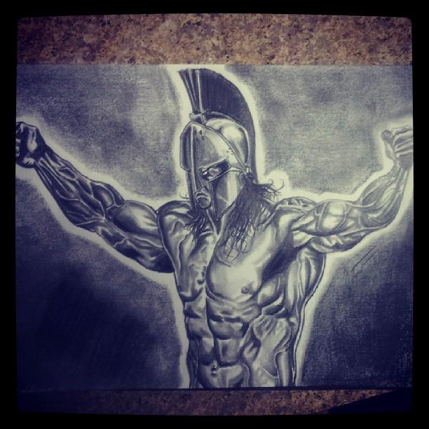 612x612 Spartan Warrior Drawing