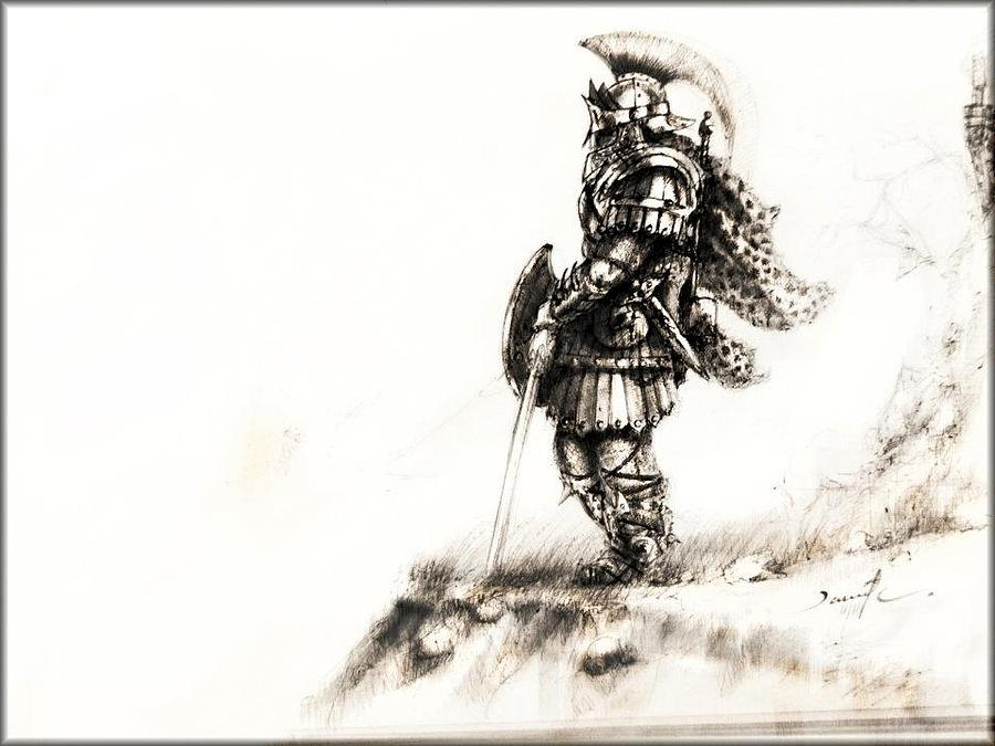 900x675 Warrior Drawing By David Cohen