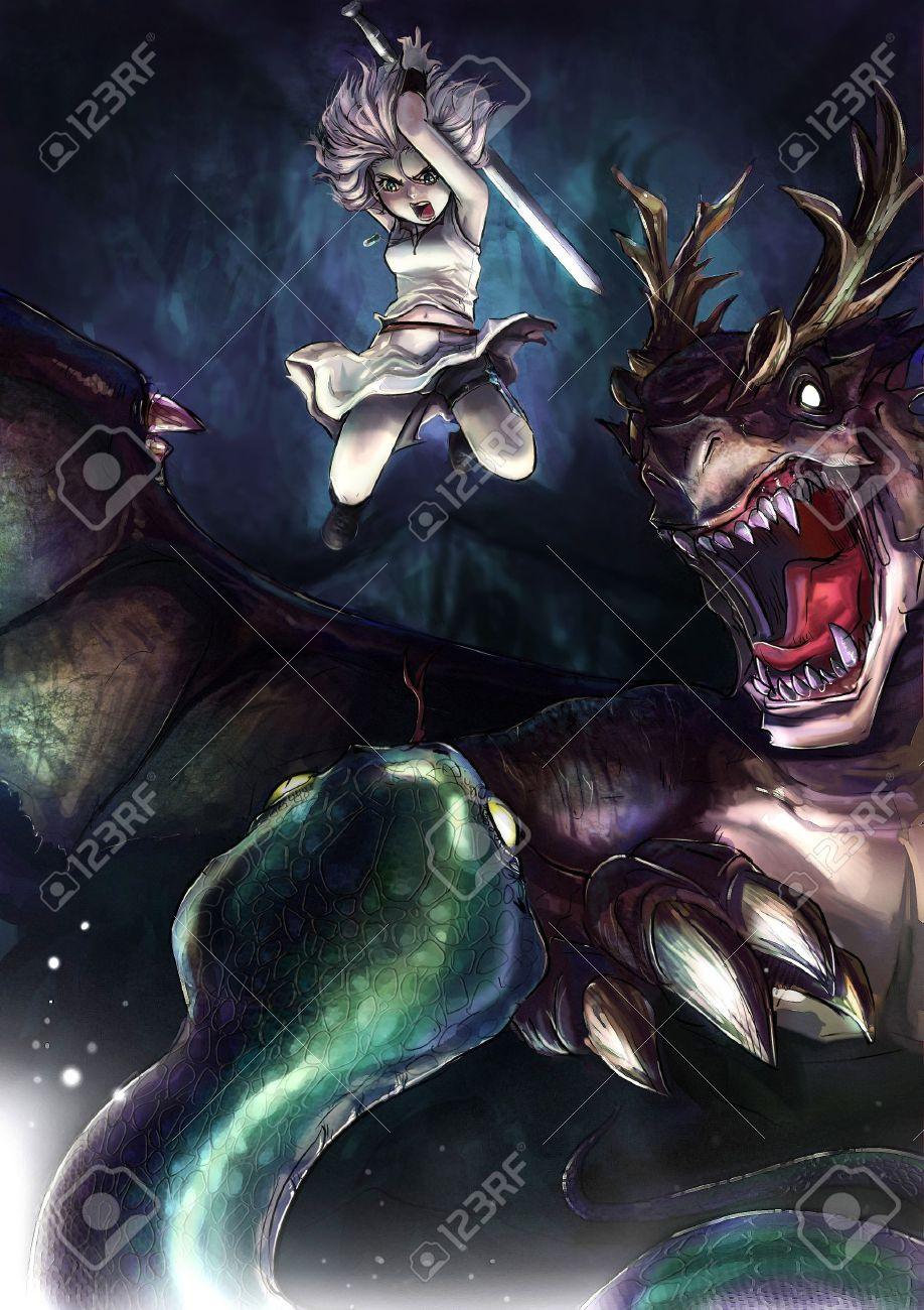 918x1300 Fantasy Drawing A Warrior Girl Is Fighting A Giant Serpent