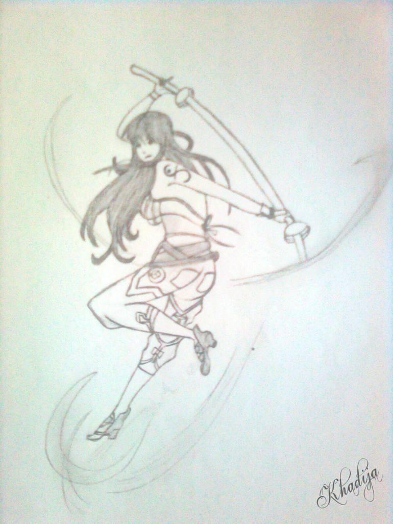 770x1027 Saatchi Art Warrior Girl Drawing By Khadija Jallouli
