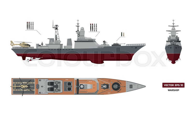 800x480 Detailed Image Of Military Ship. Top, Front And Side View