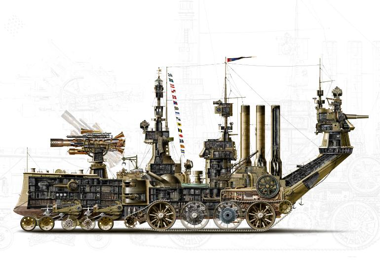 770x527 Saatchi Art Steampunk Land Ship Cutaway M3h1 Drawing By Geoff Wiggins