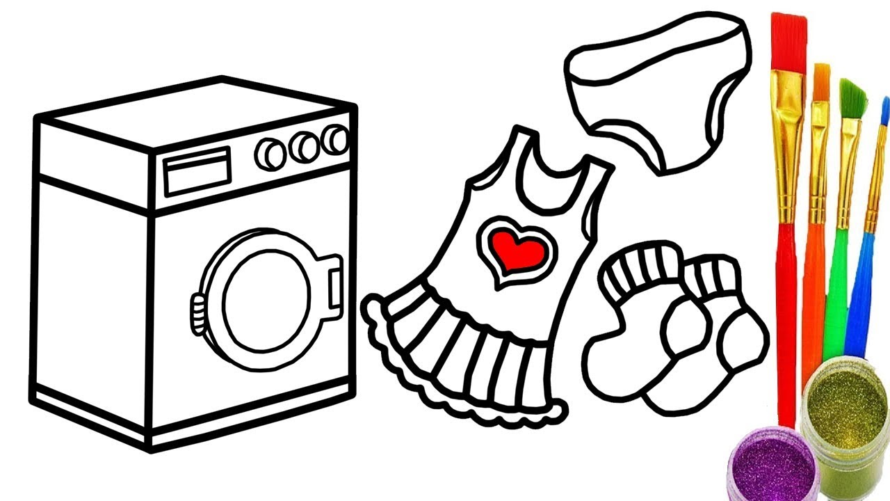 1280x720 Baby Washing Machine Clothes Children Coloring Book