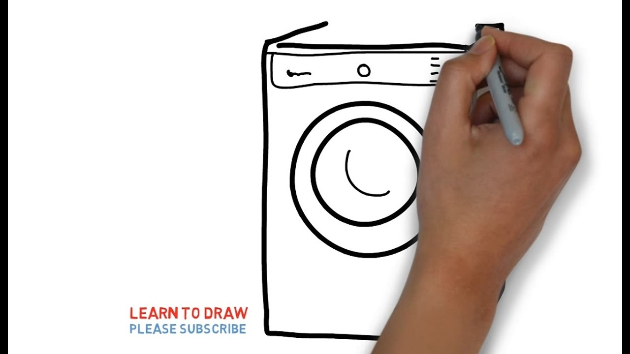 1280x720 Easy Step For Kids How To Draw A Washing Machine