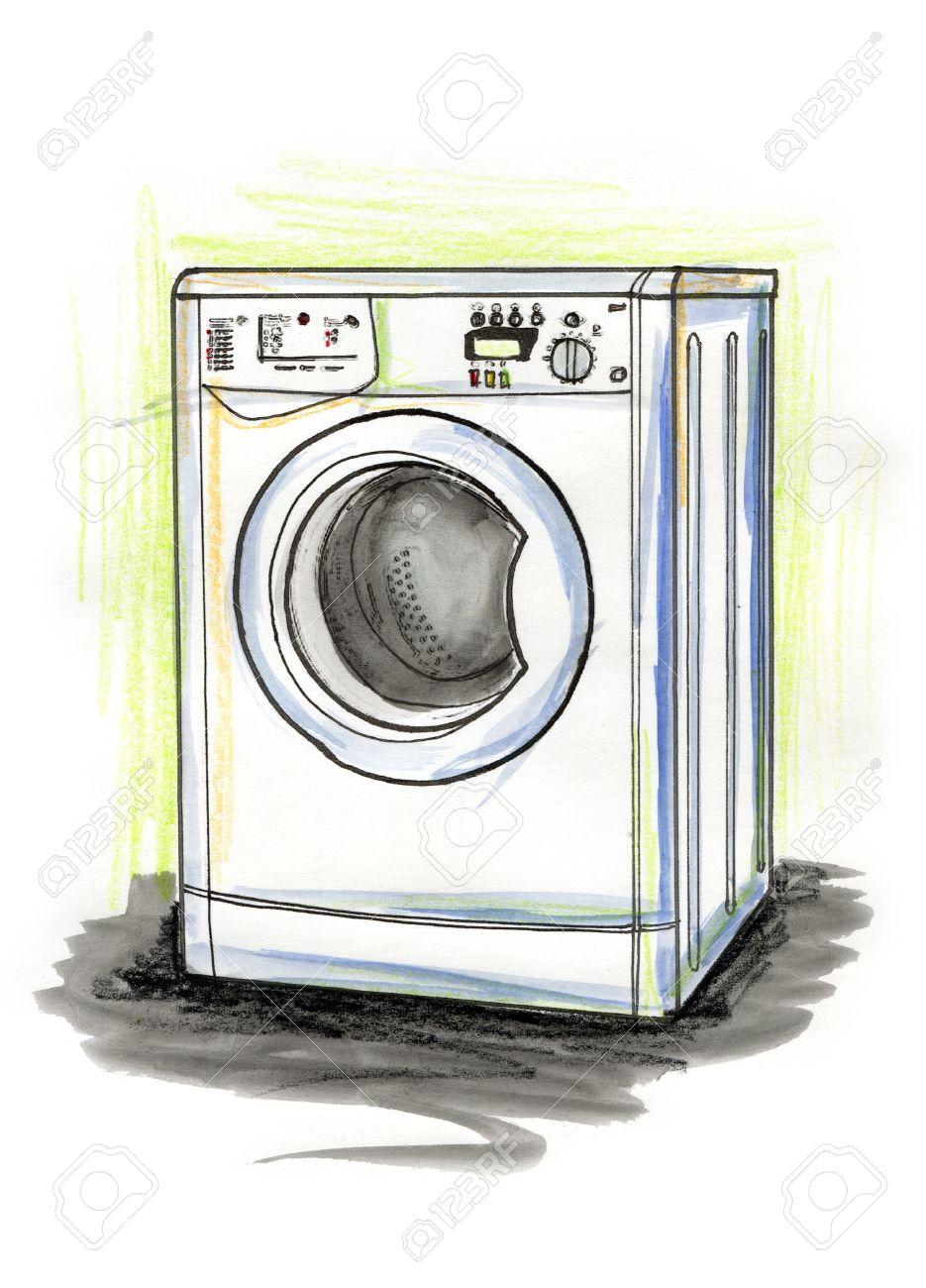 935x1300 Hand Drawn Illustration Of A Washing Machine On White Background
