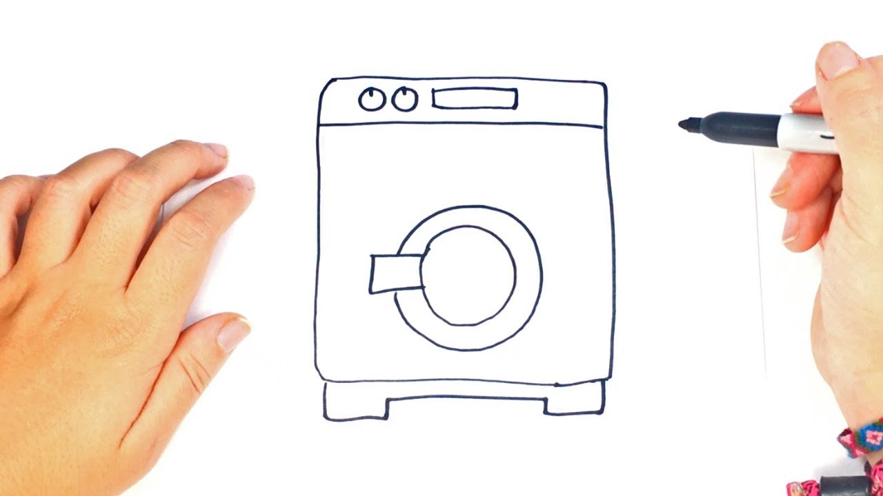 1280x720 How To Draw A Washing Machine Step By Step Easy Drawings