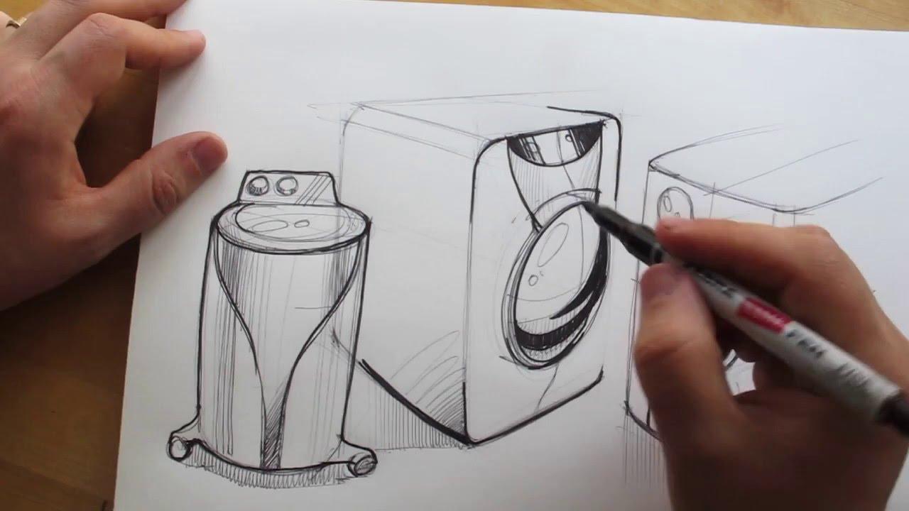1280x720 How To Draw. Product Design Sketching. Washing Machine Design