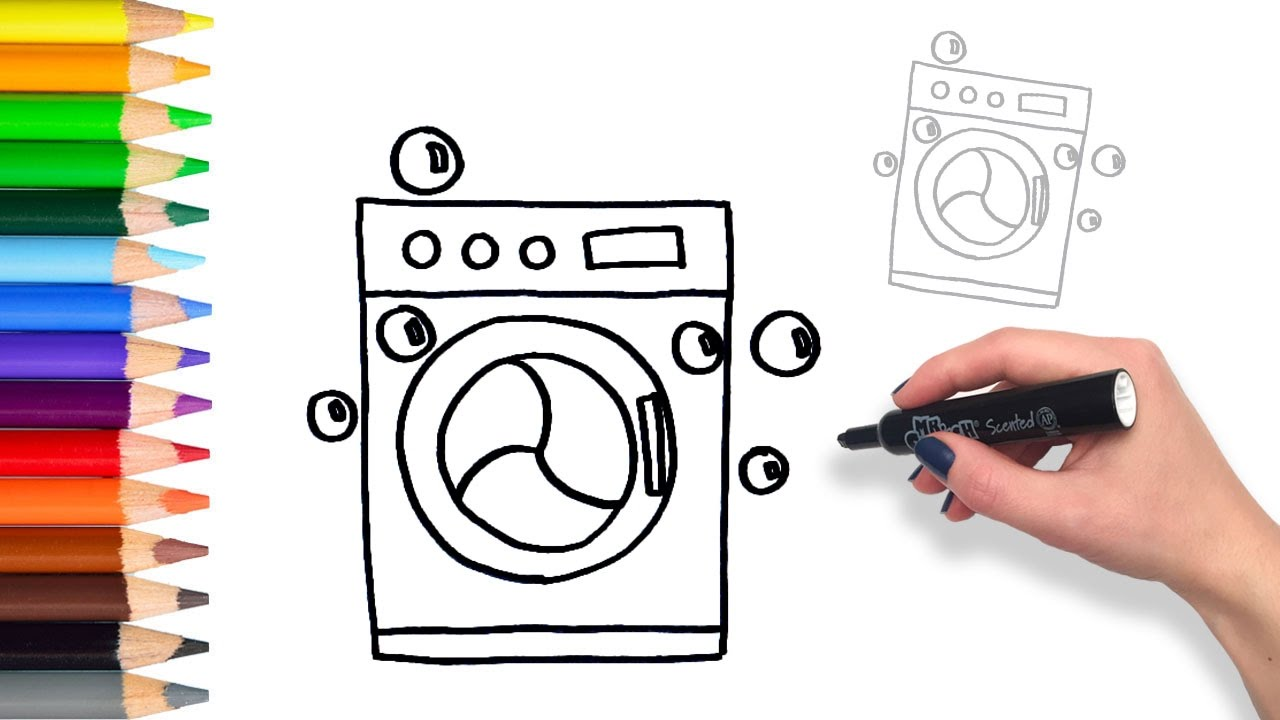 1280x720 Learn How To Draw A Washing Machine Teach Drawing For Kids
