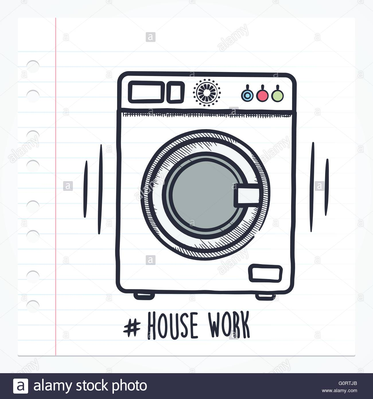 1300x1390 Vector Doodle Washing Machine Icon Illustration With Color, Drawn