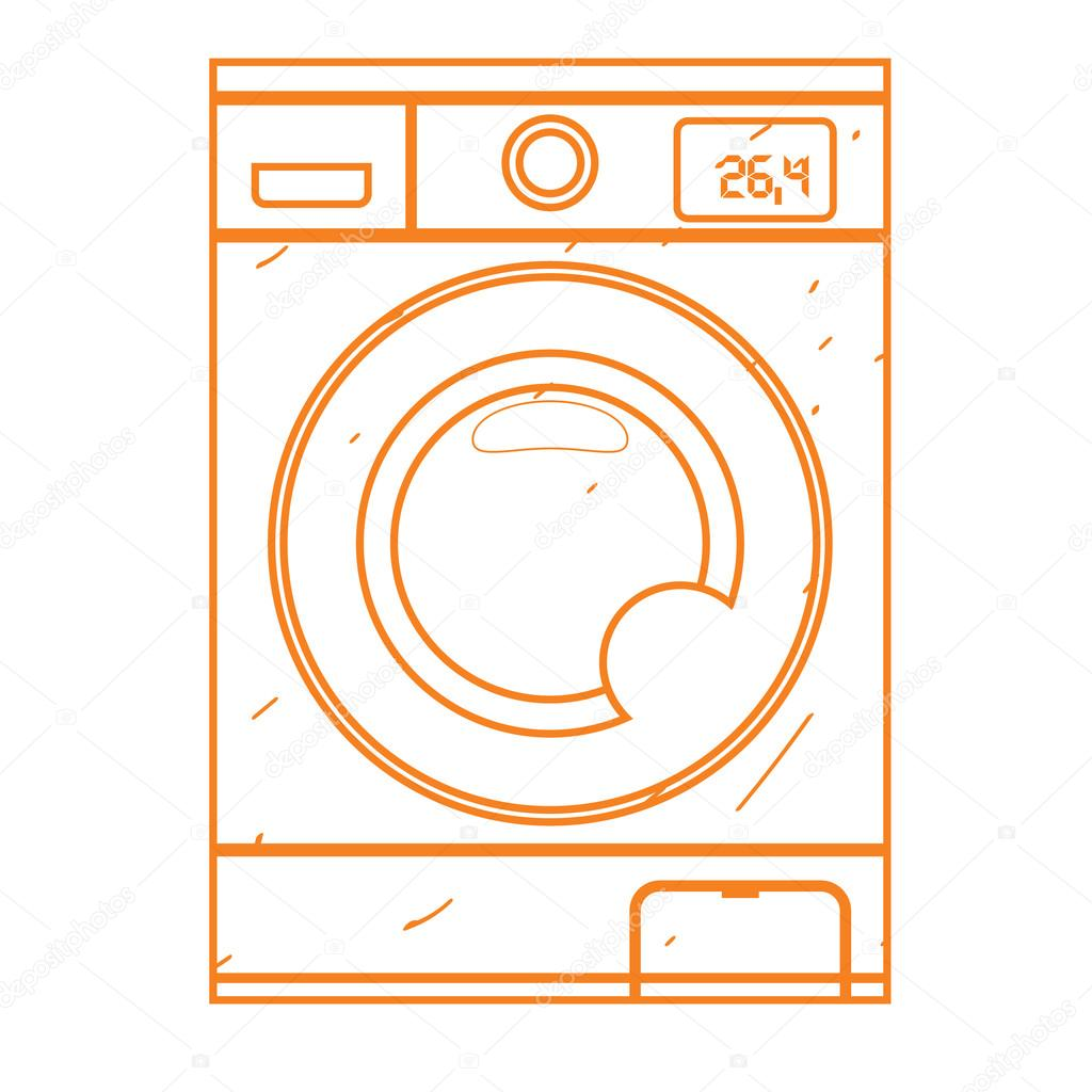 1024x1024 Washing Machine Icon Outline Drawing. Equipment For The Home