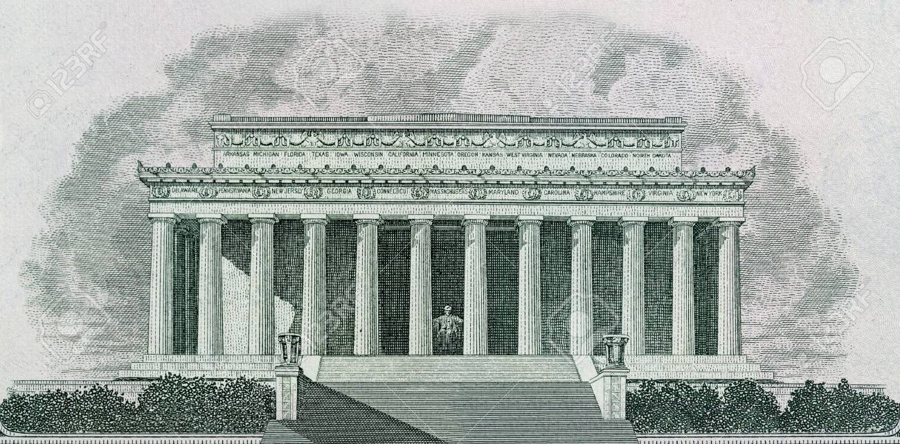 1300x641 Drawing Of Lincoln Memorial In Washington Dc Printed On Banknotes
