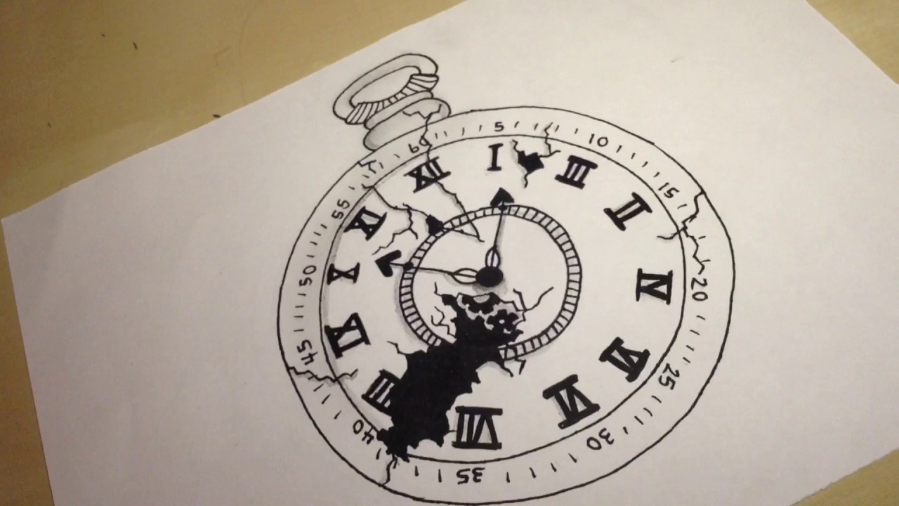 1280x720 Broken Pocket Watch Drawing Sophia Maria