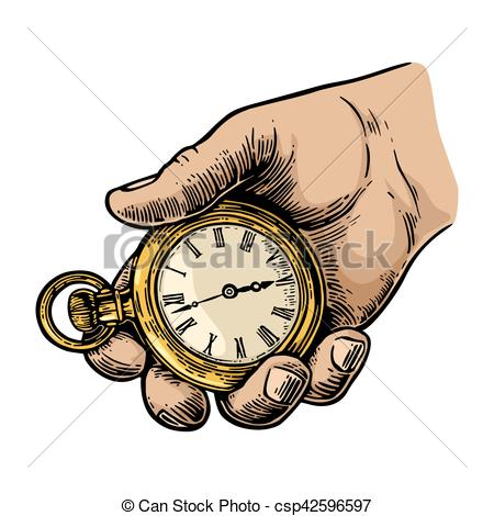 450x470 Male Hand Holding Antique Pocket Watch. Male Hand Holding Eps